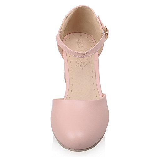 Sandals Dating Pink Buckle Block Women TAOFFEN Heel Comfort CwqfxFA