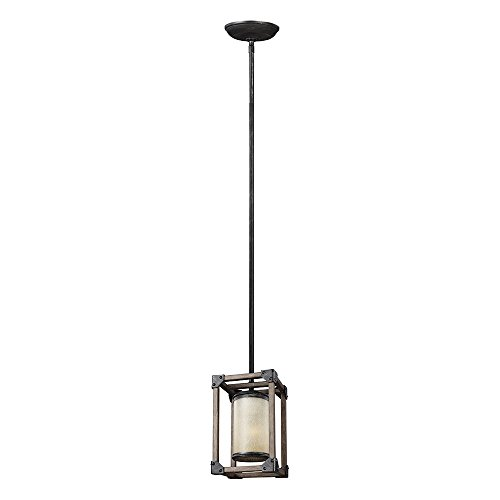 Sea Gull Lighting 6113301-846 Dunning One-Light Mini-Pendant with Creme Parchment Glass Shade, Stardust Finish (Light Pendant Online)