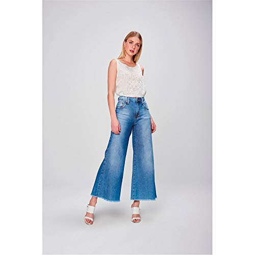 Pantalona Jeans Cropped Barra Desfiada Tam: 34 / Cor: Blue