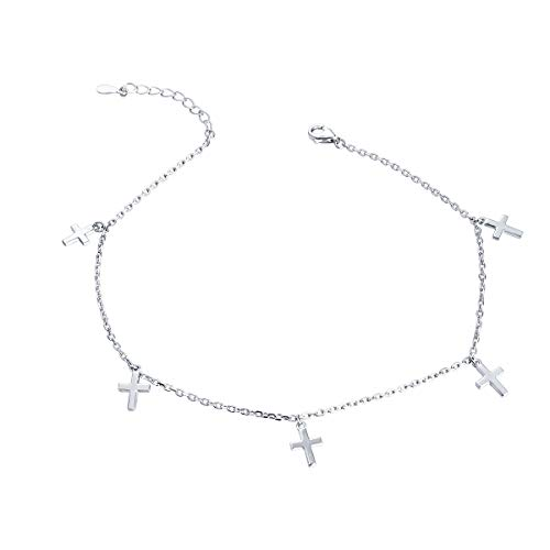S925 Sterling Silver Cross Anklet Adjustable Foot Ankle Bracelet Foot Jewelry for Women Extra 10 Inches