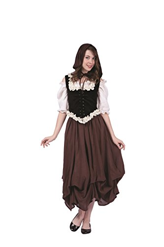 RG Costumes Women's Deluxe Renaissance Peasant, Black/White/Brown/Cream, Medium (Adult Peasant Costume)