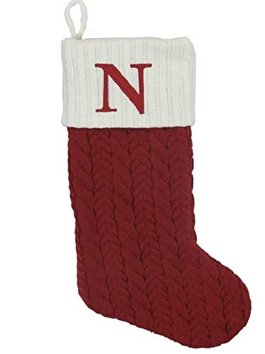 St. Nicholas Square 21 Inch Cable Knit Monogram Christmas Stocking (Embroidered N)