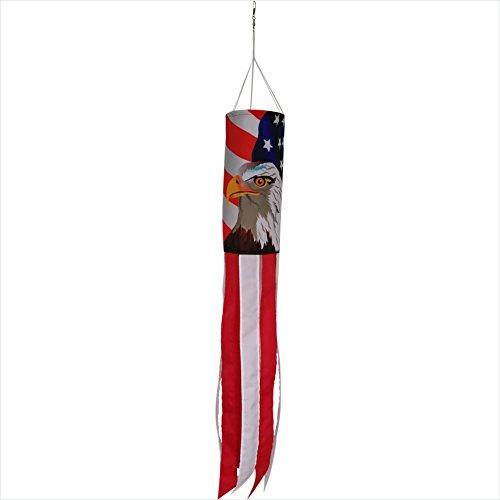 Eagle Windsock (Produtos Profissionais de Elite 40-Inch Durable Patriotic US Flag Eagle & Stars & Stripes Windsock with Stripes Tails)
