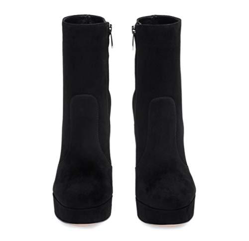 Heel Shiney Damenschuhe Wildleder Schwarz Plattform Grau Wasserdicht Stiefeletten Rundkopf Chunky wSFIrqx7S
