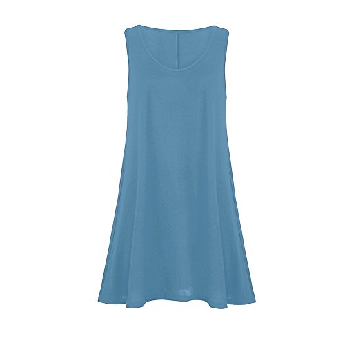 Gogoodgo ❤️Women's Sleeveless Vest Dress for Women, Ladies Pure O-Neck Swing Peplum Dress Simple Skin Friendly Camis Dress Blue