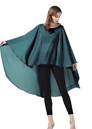 Chiffon Capelet Sheer Bridal Shawl For Women Materbity Cape Plus Size Poncho Wrap Teal Green ()