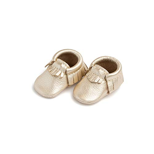 Freshly Picked - Soft Sole Leather Moccasins - Newborn Baby Girl Boy Shoes - Size 0 Platinum Gold