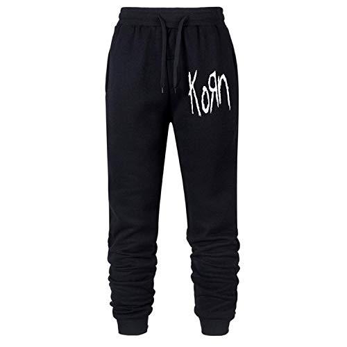 Fancymoreshop Korn Old School Logo Sweatpants with Drawstring Running Jogger Mid Rise Closed Bottom Knit L Black