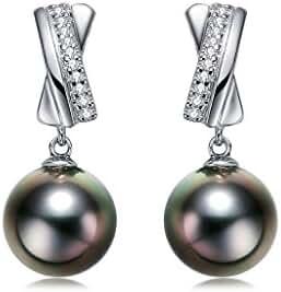 Organic Gem Love X French Black Tahitian or White Freshwater Cultured Pearl Earrings