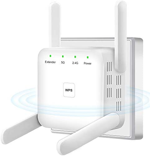 WiFi Extender, 1200Mbps WiFi Booster, WPS One-Key Setup WiFi Extenders Signal Booster for Home, High Speed WiFi Repeater 4 Antennas 360° Full Coverage 2.4G & 5G Dual Bands WiFi Range Extender