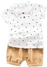Kids Casual Outfits Set,SIN vimklo Boys Short Sleeve Crown Beard Print Top T-Shirt + Plain Shorts Pant (6Month