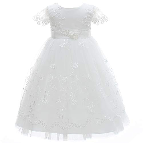 Silver Mermaid Elegant Baby Girls Christening Dress Lace Baptism Gown Christening Robe(3M,White)
