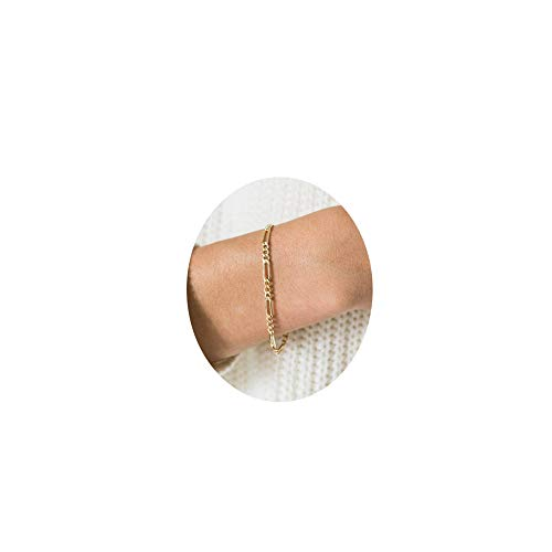 Dainty Gold Figaro Chain Bracelet,2.5mm Simple Delicate Stacking Figaro Link Chain Bracelets for Women