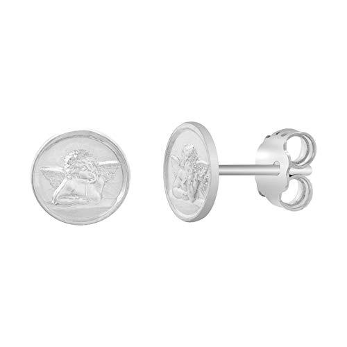 MY BIBLE Nino Cherub Angel Button Stud Earrings for Women in 925 Sterling Silver