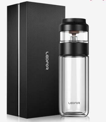 LEIDFOR Glass Tea Tumbler with Leaf-Tea Separation Infuser, Double Wall Glass Travel Tea Mug, Leakproof Tea Bottle with Strainer BPA Free Black 8 Ounce by LEIDFOR (Image #1)