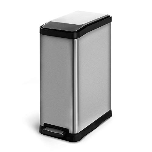 Home Zone Stainless Steel Kitchen Trash Can with Dual Compartment Recycle Bin, Rectangular Design and Step Pedal | 40 Liter / 10.6 Gallon Storage with 2-Removable Plastic Liners, Silver by Home Zone (Image #3)