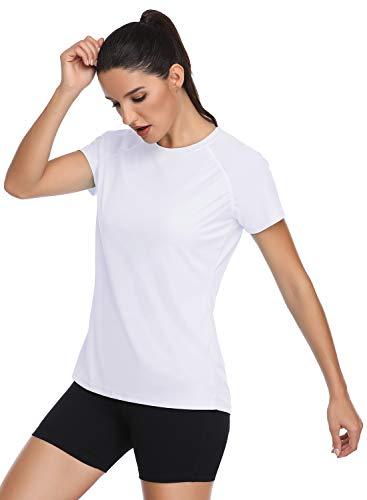 HISKYWIN Women's UPF 50+ Sun Protection Short Sleeve Outdoor T-Shirt Athletic Top Rashguards HF803 White-XXL