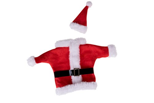 Santa Coat and Hat Wine Bottle Cover | For All Standard 750ml Wine Bottles | Quick & Easy Installation | Red & White Christmas Themed Santa Suit and Hat Holiday Decor Theme | Measures 8.5