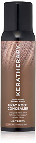 Grays Match - KERATHERAPY Keratin Infused Perfect Match Gray Root Concealer, Light Brown, 3 oz