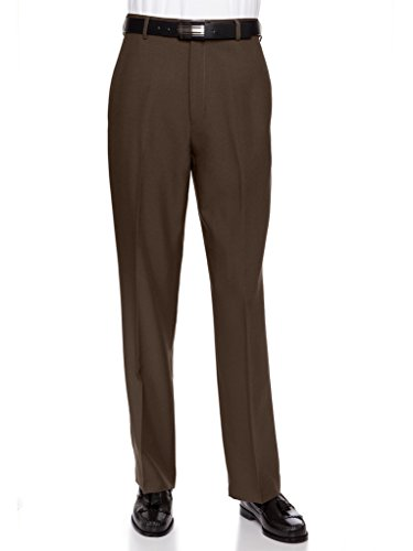 Comfort Waist Pleated Dress Slack - RGM Men's Flat Front Dress Pant Modern Fit - Perfect for Office, Business and Every Day! Brown 36W x 29L