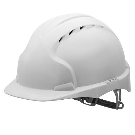 EVO2 - Casco de seguridad Industrial en color blanco, con ventilación, con un solo toque Slip ajuste ajuste de trinquete y 6 punto interior arnés: ...