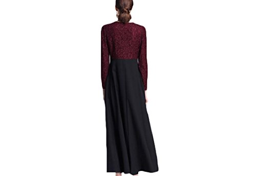 Coolred-femmes Robes Maxi Occasionnel Musulman Coutures Style Folk Mi Dentelle Taille De Vin Rouge