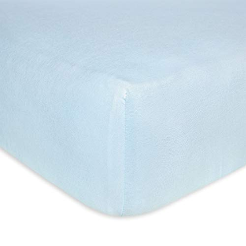 Burt's Bees Baby - Fitted Crib Sheet, Solid Color, 100% Organic Cotton Crib Sheet for Standard Crib and Toddler Mattresses (Sky Blue) (The On Bed Sheet)