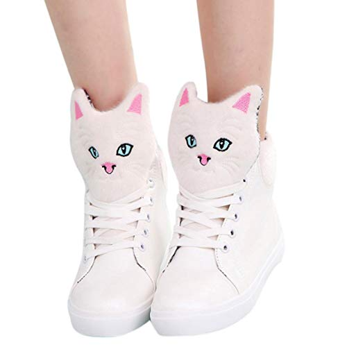 Autumn Boots Shoes FALAIDUO Girls Cartoon Teen Up Ankle Head Women Casual Lace Flat Ladies Cat White Boots qXwdw1Z