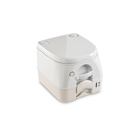 - Dometic W 301097402 970 Series Portable Toilet-2.6 Gallon, Tan with Stainless Steel Hold-Down Brackets