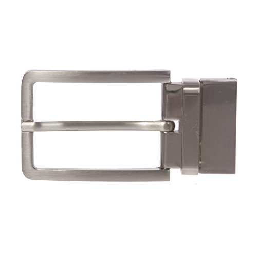Buckle Closure Belt (1 3/8 Inch (35 mm) Silver Reversible Clamp Belt Buckle,)