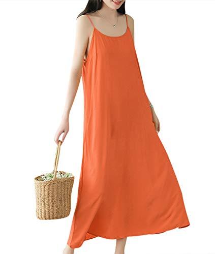 (YESNO Women Casual Long Maxi Spaghetti Strap Slip Dress Loose Summer Sundress EHH)