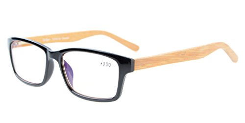Eyekepper Readers Quality Spring Hinges Bamboo Temples Computer Reading Glasses Black - Glasses Wooden Reading