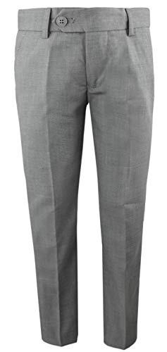 Black n Bianco Boys' First Class Slim Fit Trousers Dress Pants Gently Tapered Flat Front - Presented by Baby Muffin (18, Rustic Gray)