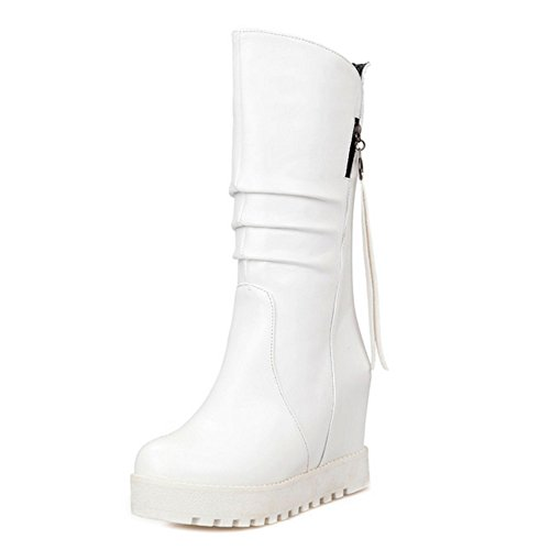 TAOFFEN Women Classical Autumn Winter Wedges High Heel Shoes Mid High Boots White