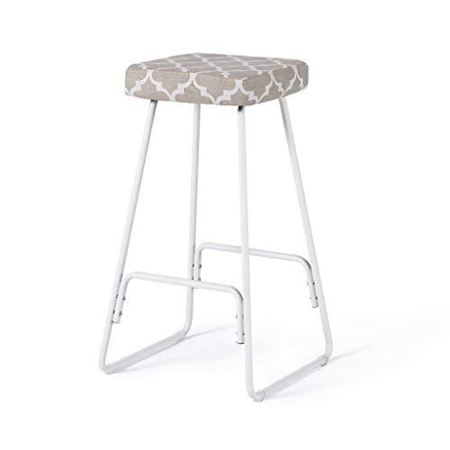 Bar Stool, Modern Minimalist Wrought Iron Bar Chair Home Retro High Stool (Color : White Frame - Flower Window) ()
