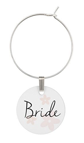 Wine Glass Charms for Wedding - Bridal Party Set of Rings, Tags, Shower Favors by TJ Formal (Image #1)