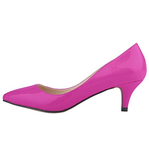 OCHENTA Women's Candy Color Pointed Toe Mid Heel PU Pump Shoes Purple mWFwh1i9