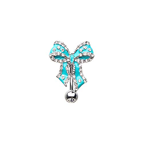 - Pierced Owl CZ Crystal Bow Tie Ribbon Reverse Belly Button Navel Ring