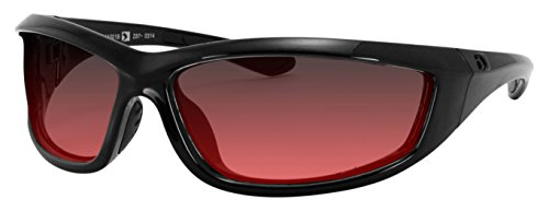 4003379 Bobster Charger Ansi Z87 Sunglass-black Frame/Rose - Rose Lens Sunglasses