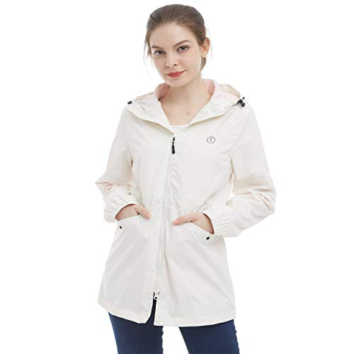 TOPSUN Womens Lightweight Rain Jacket Waterproof with Hood Active Outdoor Raincoats Off-White Size M