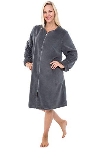 Alexander Del Rossa Womens Fleece Robe, Mid-Length Zip-Front Bathrobe, Medium Steel Grey (A0309STLMD)
