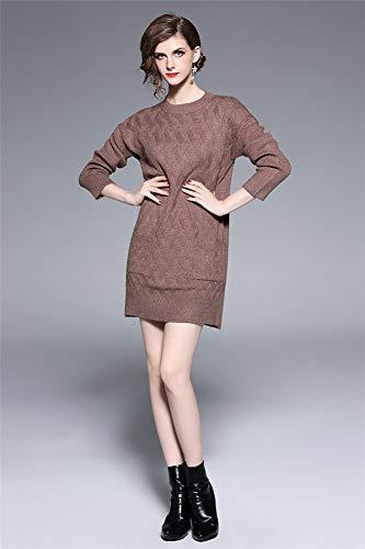 Cuello Chaleco Niña Una Redondo Con Brown De Vestido fit Mujer Bodycorn Slim Línea Clubwear Moda Falda Elegante Punto Suéter Oficina EvnqB