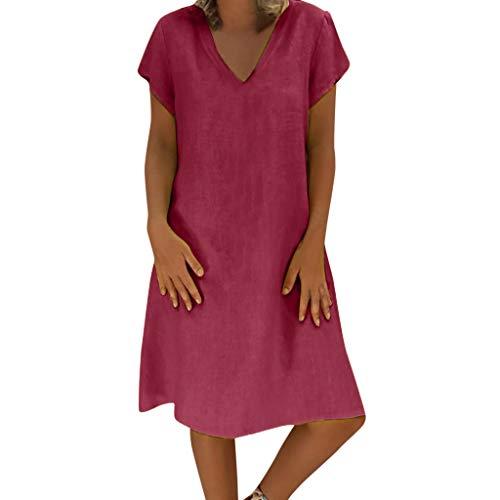 TOTOD Women Dress Summer Fashion Feminin Vestido Long T-Shirt Casual Boho Loose Shirt Dresses Sundress(Red,4XL)