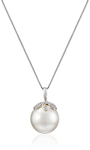 Sterling Silver and White Simulated Simulated Shell Pearl Pendant Necklace (13 mm)
