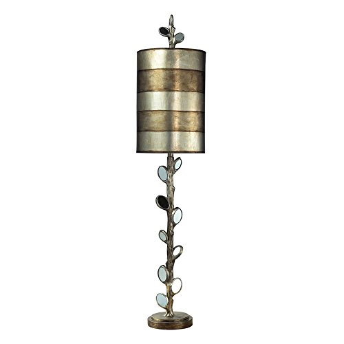 Dimond Lighting 93-9111 Amherst 1-Light Buffet Transitional Table Lamp with Hand Painted Shade, Mirror and Antique Silver Finish, 10