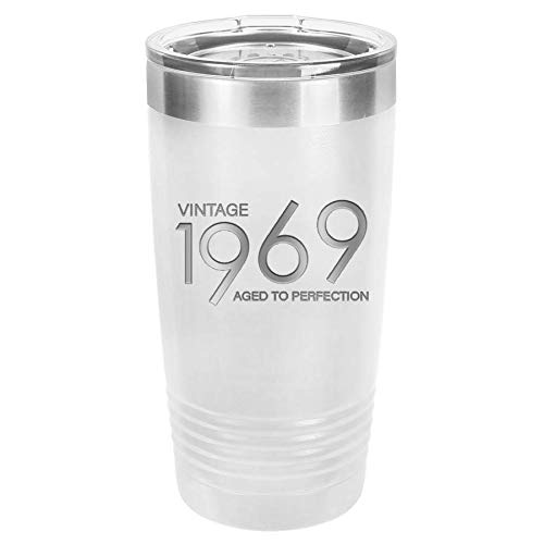 1969 50th Birthday Gifts for Men and Women White 20 oz Insulated Stainless Steel Tumbler   50 Year Old Presents   Mom Dad Wife Husband Present   Party Decorations Supplies Anniversary Tumblers Gift -