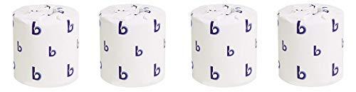 Boardwalk BWK6144 Two-Ply Toilet Tissue, White, 4'' x 3'' Sheet, 400 Sheets per Roll (Case of 96 Rolls) (4-(Pack))