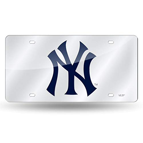 New York Yankees Deluxe Silver Mirrored Laser Cut License - Logo Mlb Plate