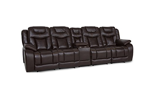 Seatcraft Carnegie Home Theater Seating Manual Reclinable Leather Gel Row of 4 Dual Loveseat with Storage Console and Cupholders, Brown by SEATCRAFT
