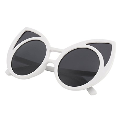 A&S Creavention 2017 New Fashion Charm Cat Ear Design Plastic Shades Lens Reflective Sunglasses Eyewear (White, - Glasses Ear Cat